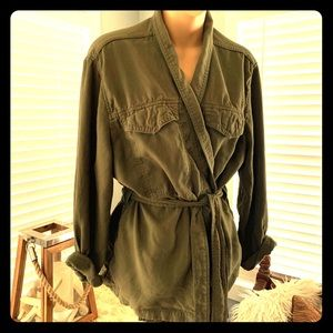 GAP army green belted jacket! Like NEW!